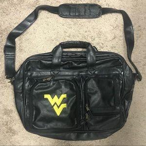 WVU Black Leather Laptop Bag